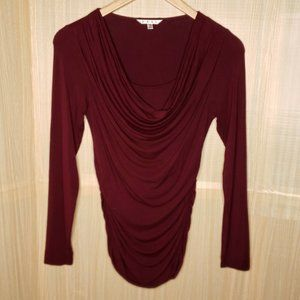 Cabi Draped Neck Long Sleeve Stretchy Top Small